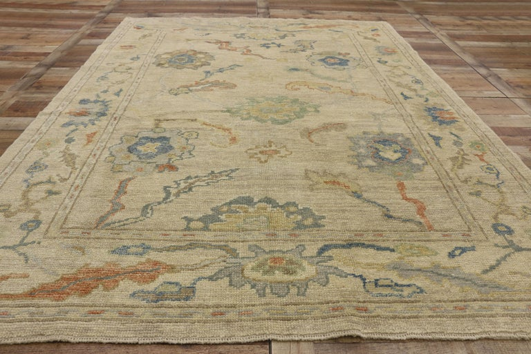 New Contemporary Turkish Oushak Rug with Transitional Style For Sale 2
