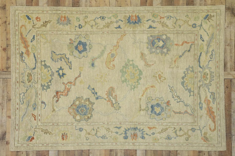 New Contemporary Turkish Oushak Rug with Transitional Style For Sale 4