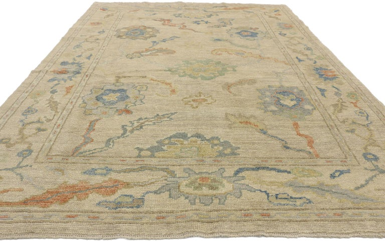 Hand-Knotted New Contemporary Turkish Oushak Rug with Transitional Style For Sale