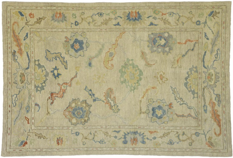 New Contemporary Turkish Oushak Rug with Transitional Style For Sale 5