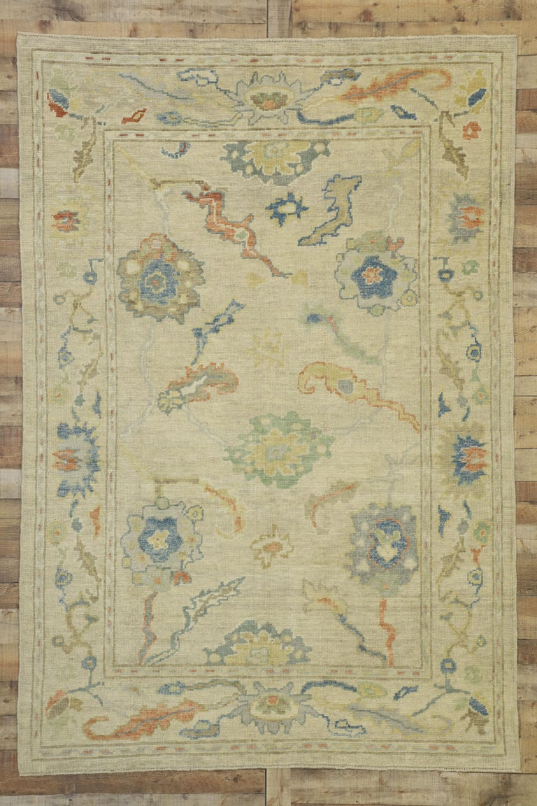 New Contemporary Turkish Oushak Rug with Transitional Style For Sale 3