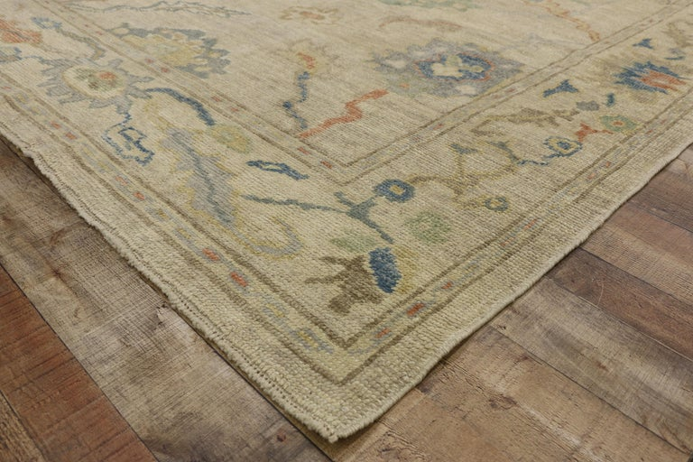 New Contemporary Turkish Oushak Rug with Transitional Style For Sale 1