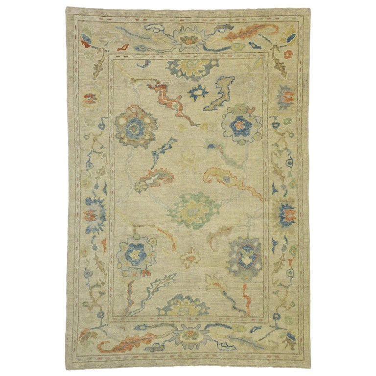 New Contemporary Turkish Oushak Rug with Transitional Style For Sale