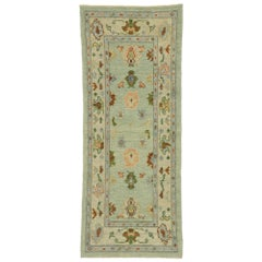 New Contemporary Turkish Oushak Runner with Modern Style