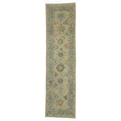 New Contemporary Turkish Oushak Runner with Transitional Style