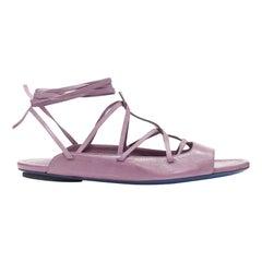 new COSTUME NATIONAL purple flat lace up wrap ankle flat sandals shoes EU39 US9