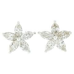 New Custom 14k White Gold 2ct Marquise Diamond Flower Star Cluster Stud Earrings