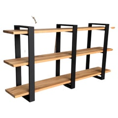 New Custom Etagere with Three Oak Shelves and Iron Structure