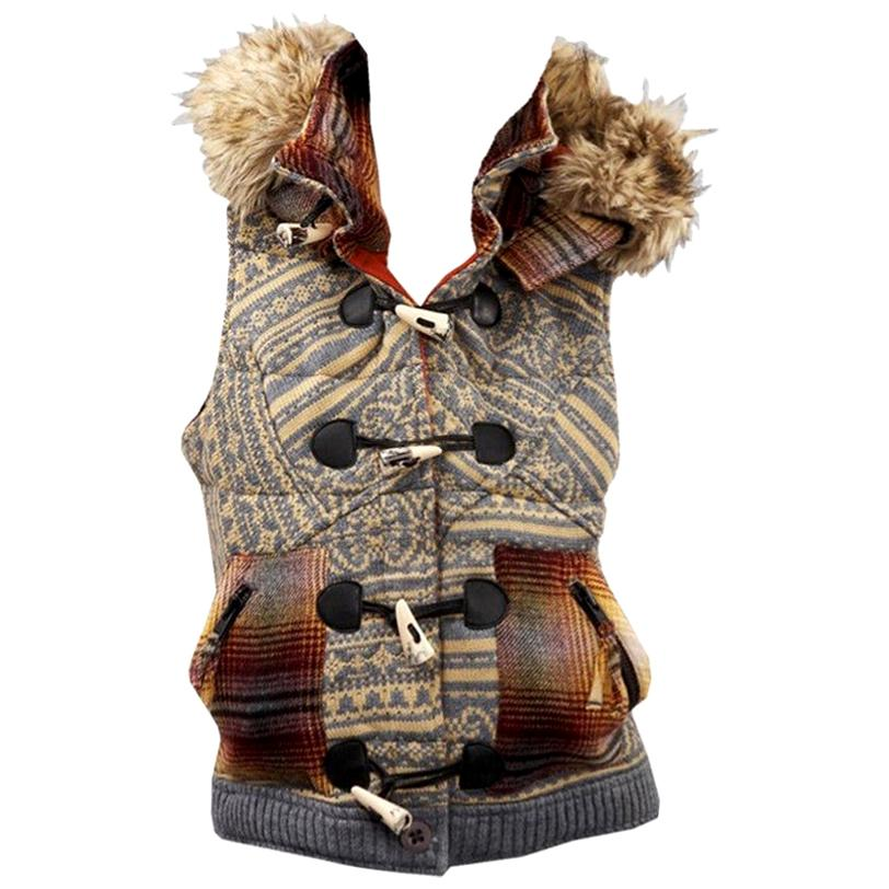 New Da-Nang Knit Wool Vest With Detachable Hood Size: Small