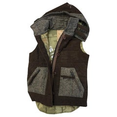 New Da-Nang Knit Wool Vest With Detachable Hood Sz M