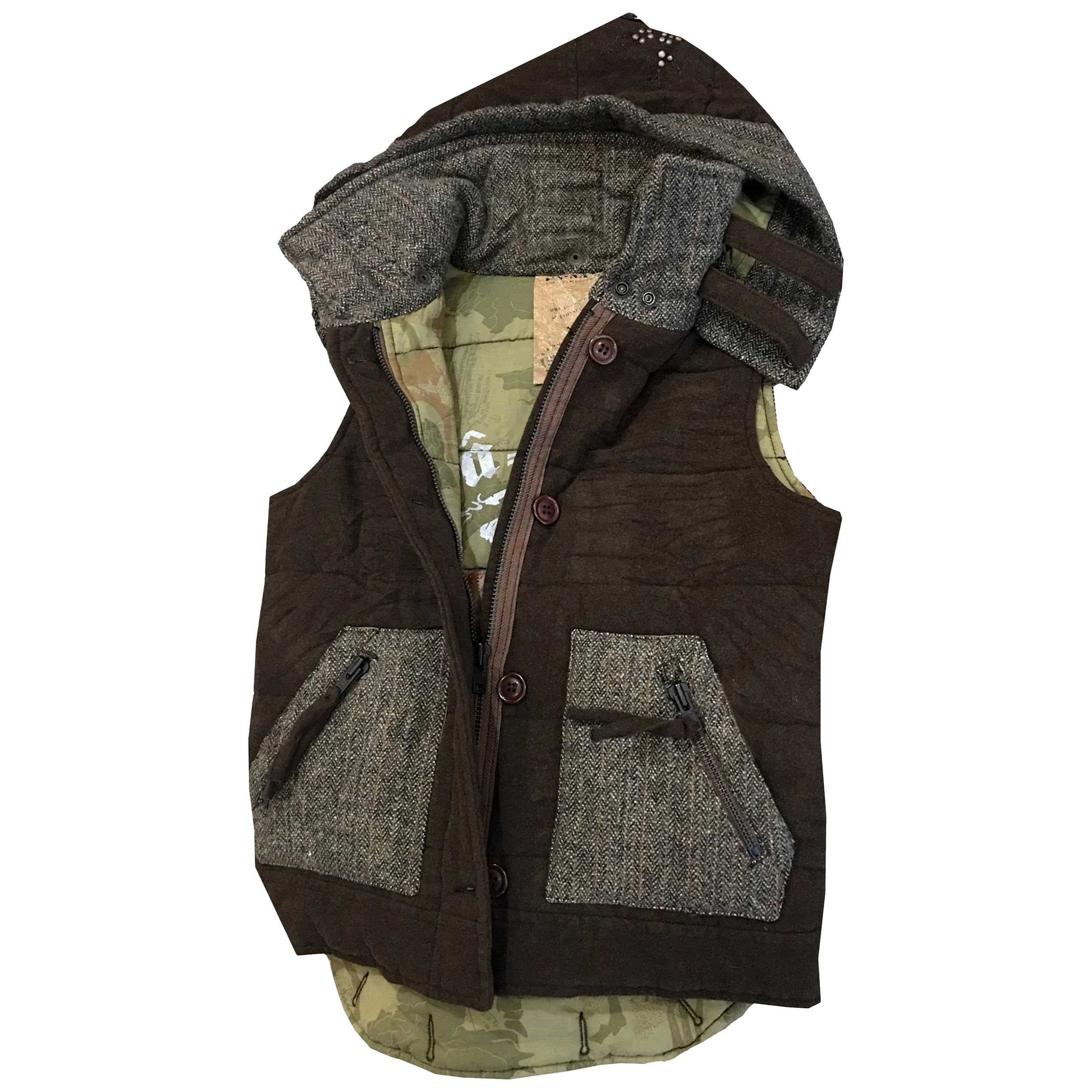 New Da-Nang Knit Wool Vest With Detachable Hood Sz M