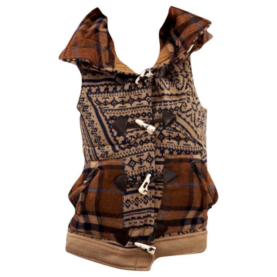 New Da-Nang Knit Wool Vest With Detachable Hood Sz Small
