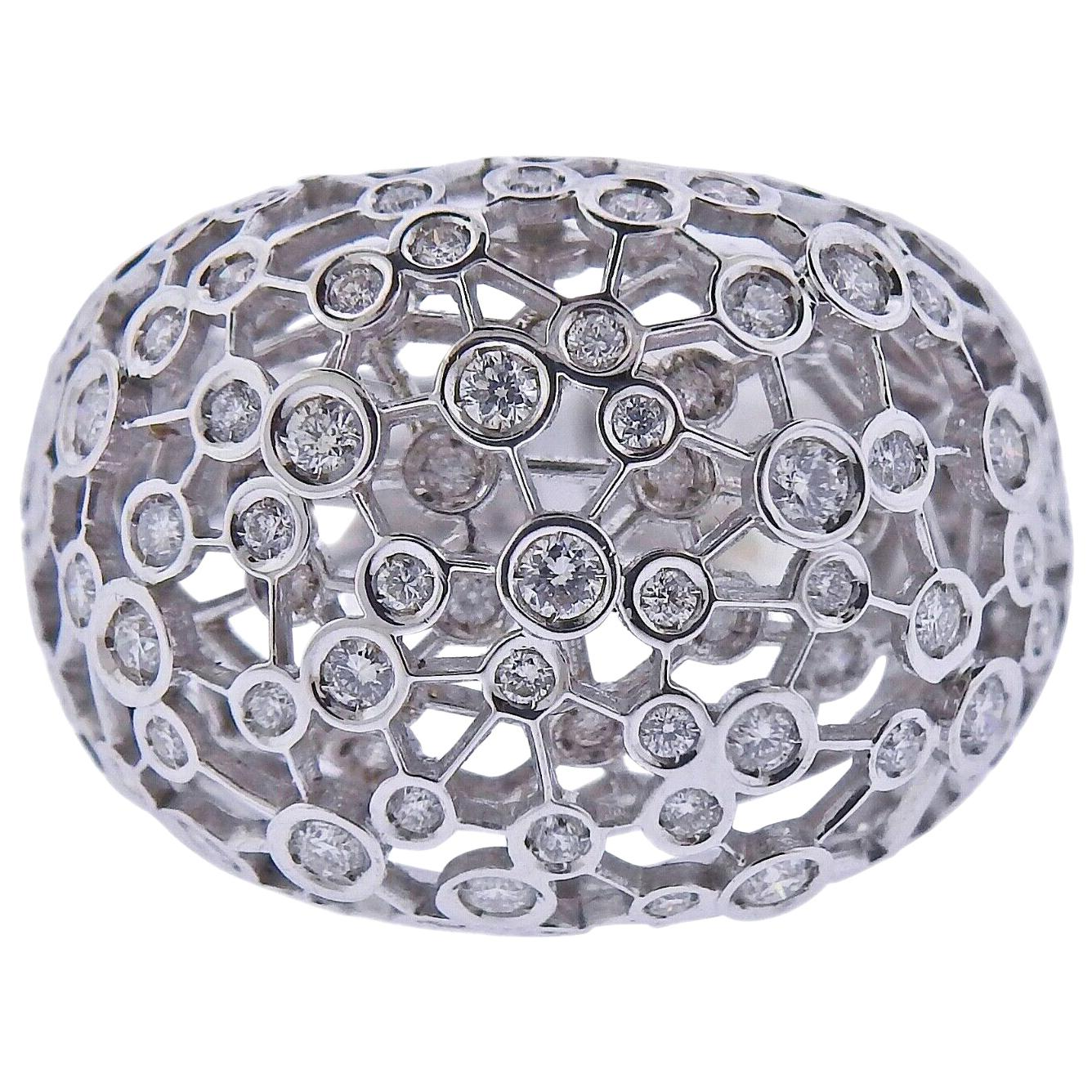 New Damiani Diamond Gold Dome Ring