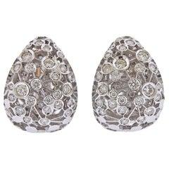 New Damiani Diamond Gold Hoop Earrings