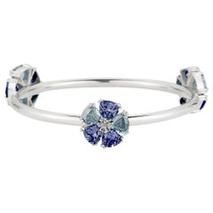 New Dark Blue and Light Blue Sapphire Triple Blossom Mixed Stone Bangle Bracelet