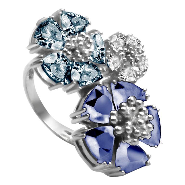 Dark Blue, Light Blue and White Topaz Trifecta Blossom Stone Ring