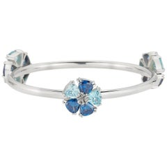 New Dark Blue Sapphire and Aquamarine Triple Blossom Mixed Stone Bangle Bracelet
