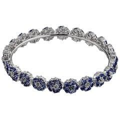 Dark Blue Sapphire Blossom Gemstone Wraparound Bracelet