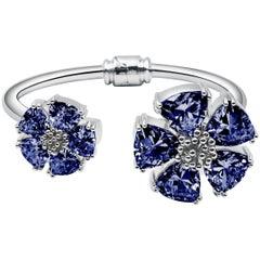 New Dark Blue Sapphire Blossom Large Mixed Stone Hinge Bracelet