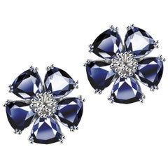 New Dark Blue Sapphire Blossom Large Stone Stud Earrings