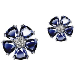 New Dark Blue Sapphire Blossom Mixed Stone Stud Earrings