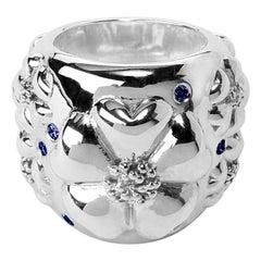 Dark Blue Sapphire Blossom Pave Statement Dome Ring