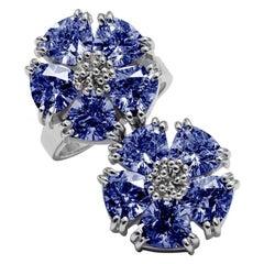 Dark Blue Sapphire Double Blossom Stone Ring