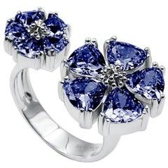Dark Blue Sapphire Mixed Blossom Stone Open Ring