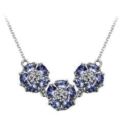 Dark Blue Sapphire Triple Blossom Gentile Necklace