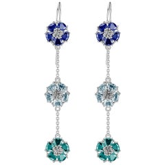Dark and Light Blue Sapphire and Aquamarine Blossom Gentile Chandelier Earrings