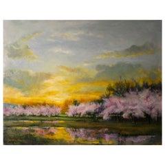 New Dawn, Cherry Blossoms and Spring Sky, Soft Romantic Colors, Original Oil
