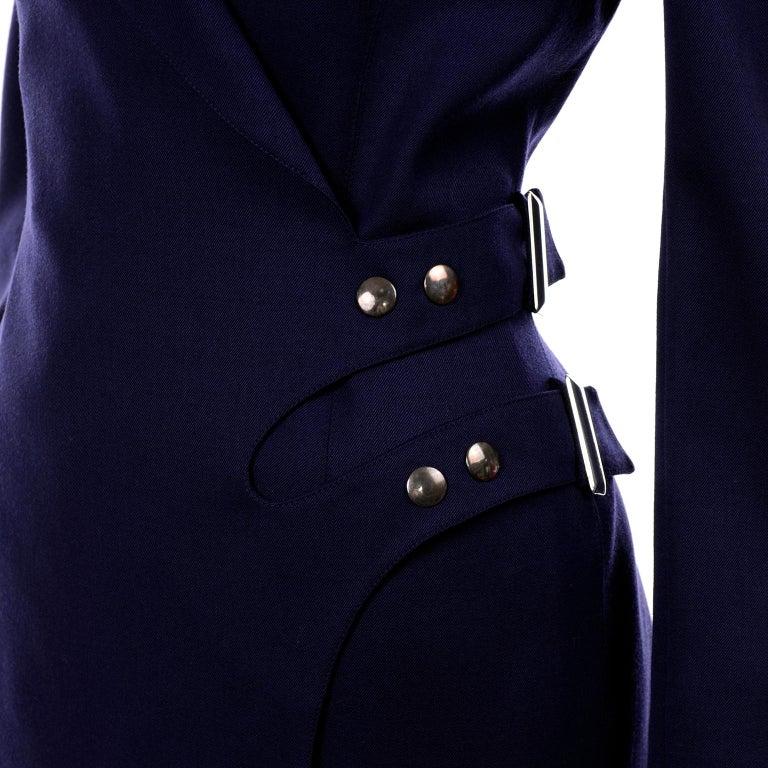 New Deadstock Claude Montana Vintage Blue 2 Piece Skirt & Jacket Suit Sz 46/12 For Sale 5