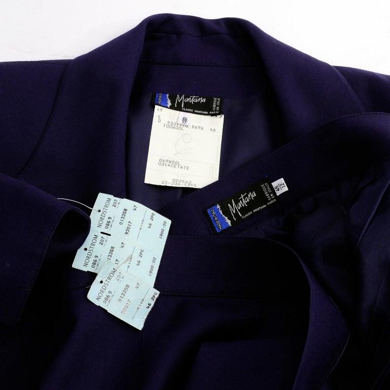 New Deadstock Claude Montana Vintage Blue 2 Piece Skirt & Jacket Suit Sz 46/12 For Sale 6