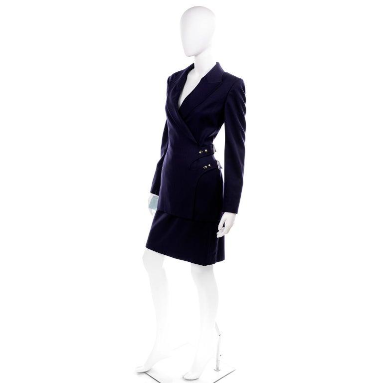 Black New Deadstock Claude Montana Vintage Blue 2 Piece Skirt & Jacket Suit Sz 46/12 For Sale