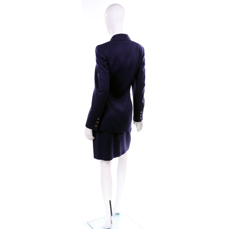 New Deadstock Claude Montana Vintage Blue 2 Piece Skirt & Jacket Suit Sz 46/12 In New Condition For Sale In Portland, OR