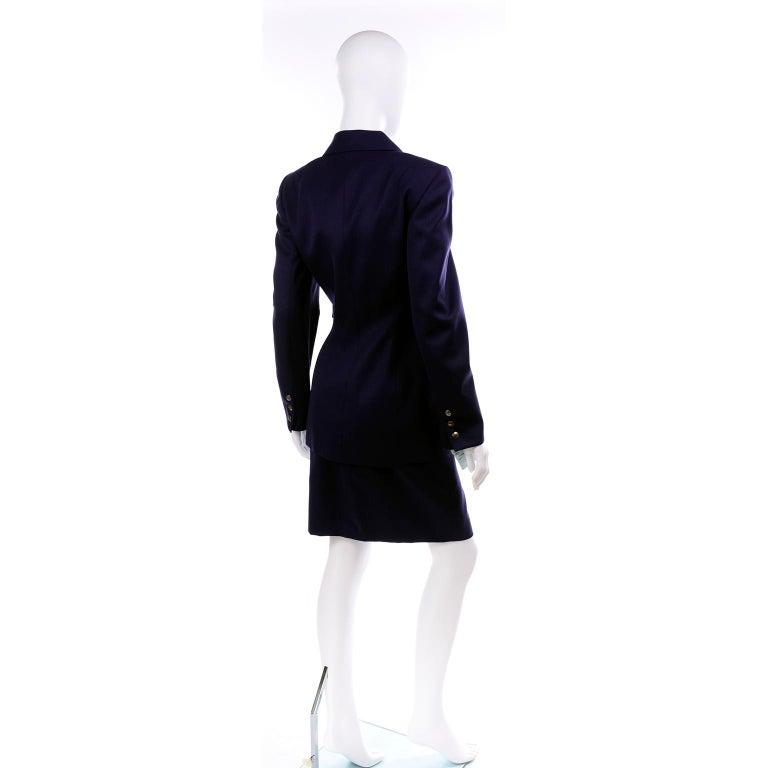 Women's New Deadstock Claude Montana Vintage Blue 2 Piece Skirt & Jacket Suit Sz 46/12 For Sale