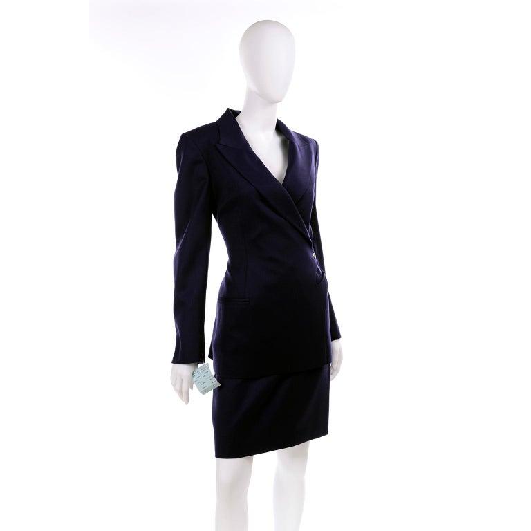 New Deadstock Claude Montana Vintage Blue 2 Piece Skirt & Jacket Suit Sz 46/12 For Sale 1