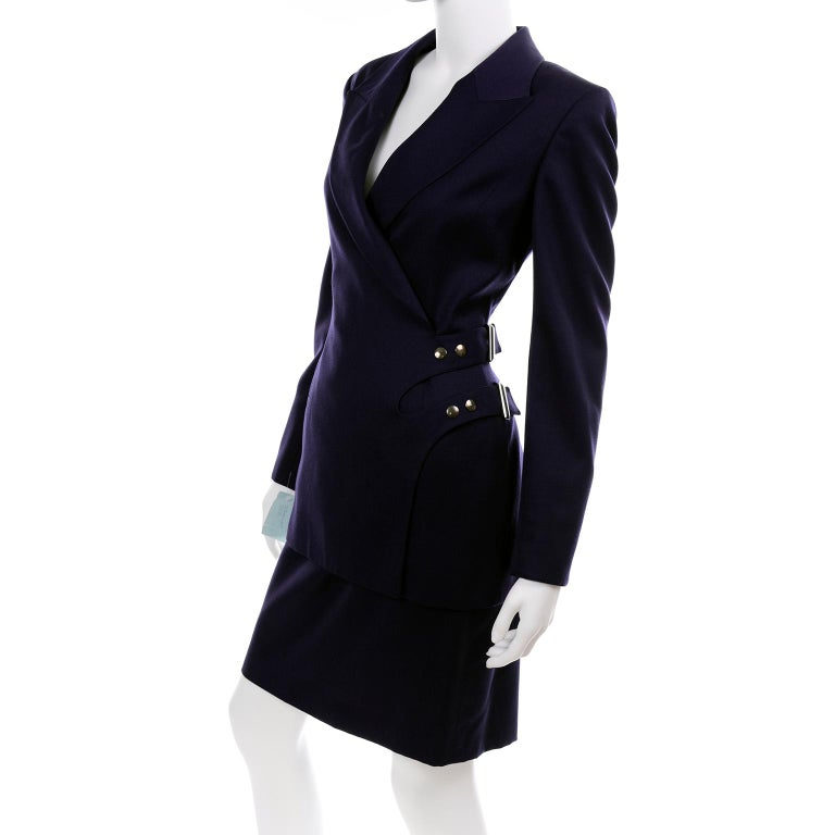 New Deadstock Claude Montana Vintage Blue 2 Piece Skirt & Jacket Suit Sz 46/12 For Sale 3
