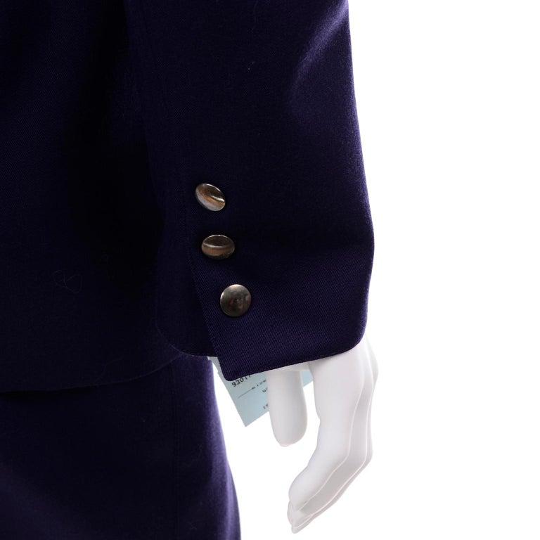 New Deadstock Claude Montana Vintage Blue 2 Piece Skirt & Jacket Suit Sz 46/12 For Sale 4