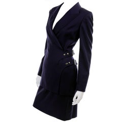 New Deadstock Claude Montana Vintage Blue 2 Piece Skirt & Jacket Suit Sz 46/12