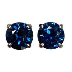 New Deep Blue 1.20 Carat Australian Sapphire White Gold Round Cut Earring Studs