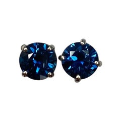 New Deep Blue 1.20 Carat Australian Sapphire White Gold Round Cut Earring Studs