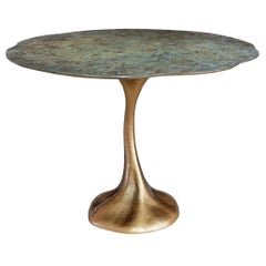 New Design Dining Table in Ceramic and Base in Aged Pale Gold Color