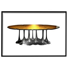 New Design Dining Table Lacquered in Black with High Gloss Finish 8/10 Persons