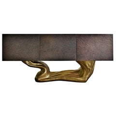 """New Design Sideboard in Wood Finished in Brass Color on """"Organic"""" Texture"""