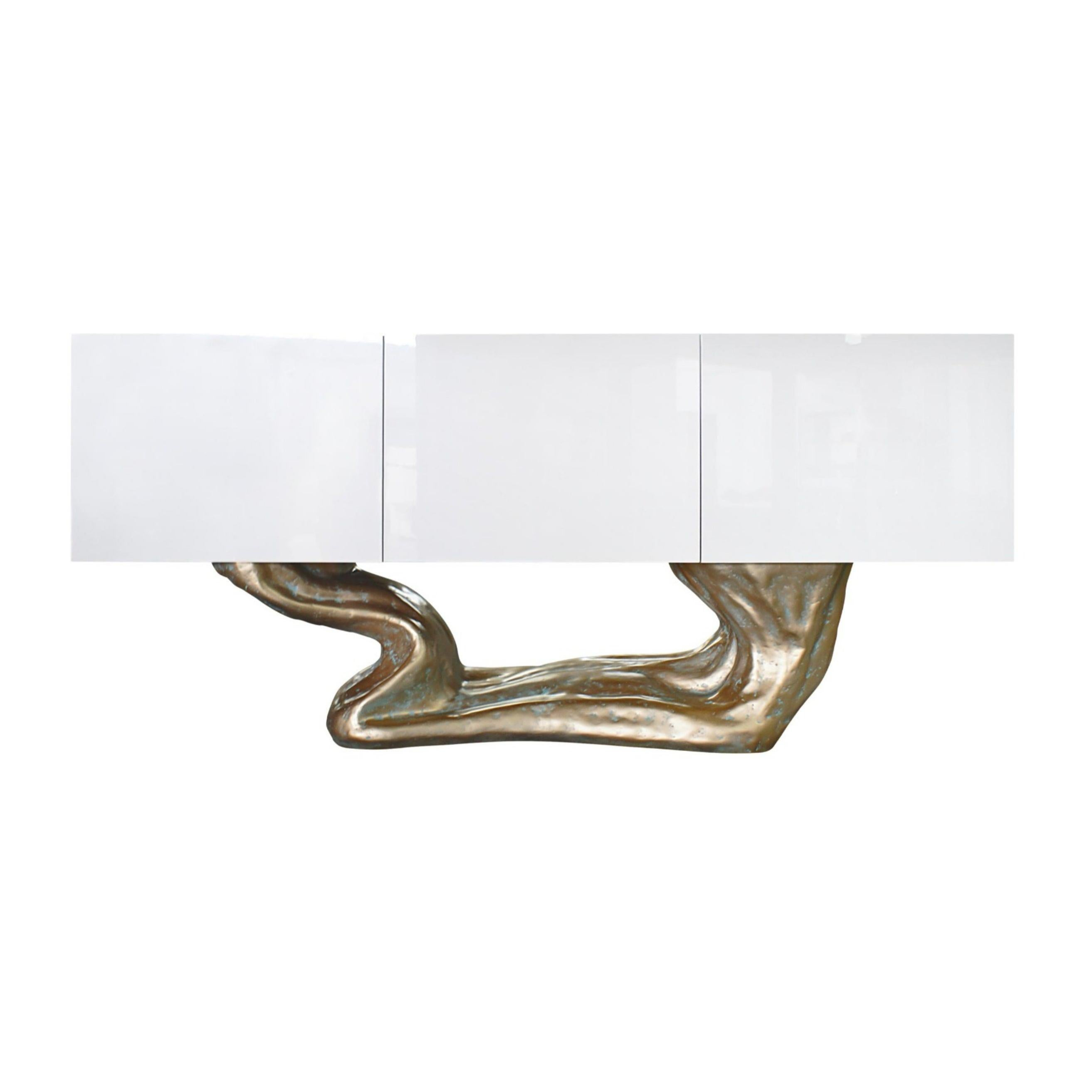 New Design Sideboard in Wood Lacquered in High Gloss White