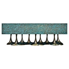 """New Design Sideboard in Wood Verdigris and Brass Color on """"Knockdown"""" Texture"""