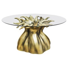 New Design Tempered Glass and Resin Dining Table for 8 Persons in Aged Gold Leaf