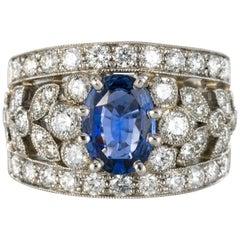 New 1.50 Carat Diamond 1.55 Carat Sapphire Platinum Band Ring
