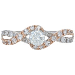 New Diamond Engagement Ring, 14 Karat White and Rose Gold .65 Carat